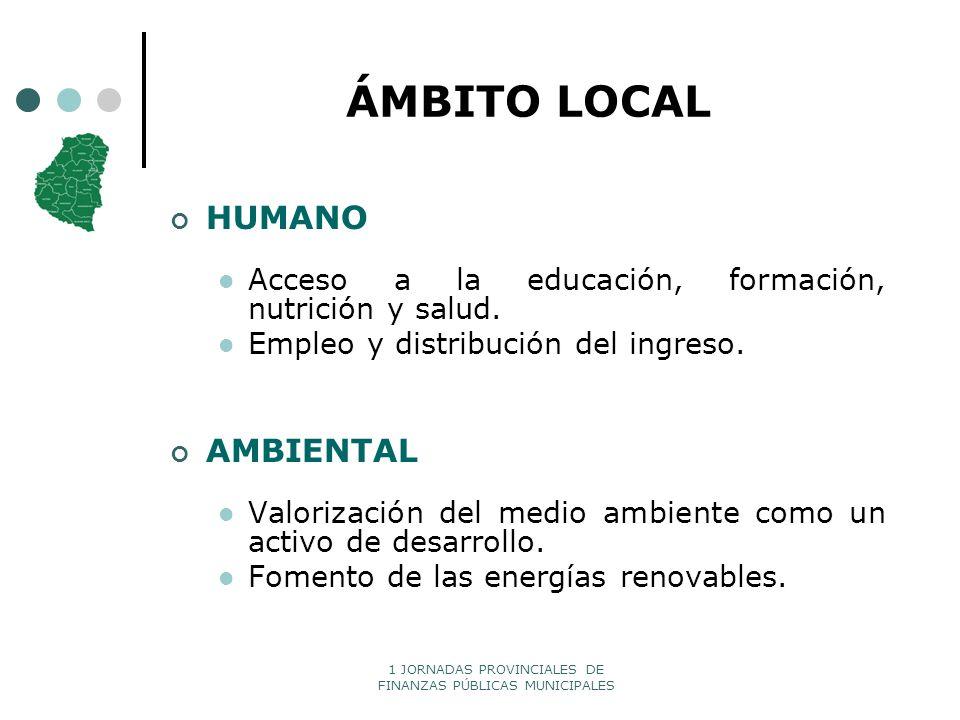 1 JORNADAS PROVINCIALES DE FINANZAS PÚBLICAS MUNICIPALES ÁMBITO LOCAL HUMANO Acceso a la educación, formación, nutrición y salud. Empleo y distribució