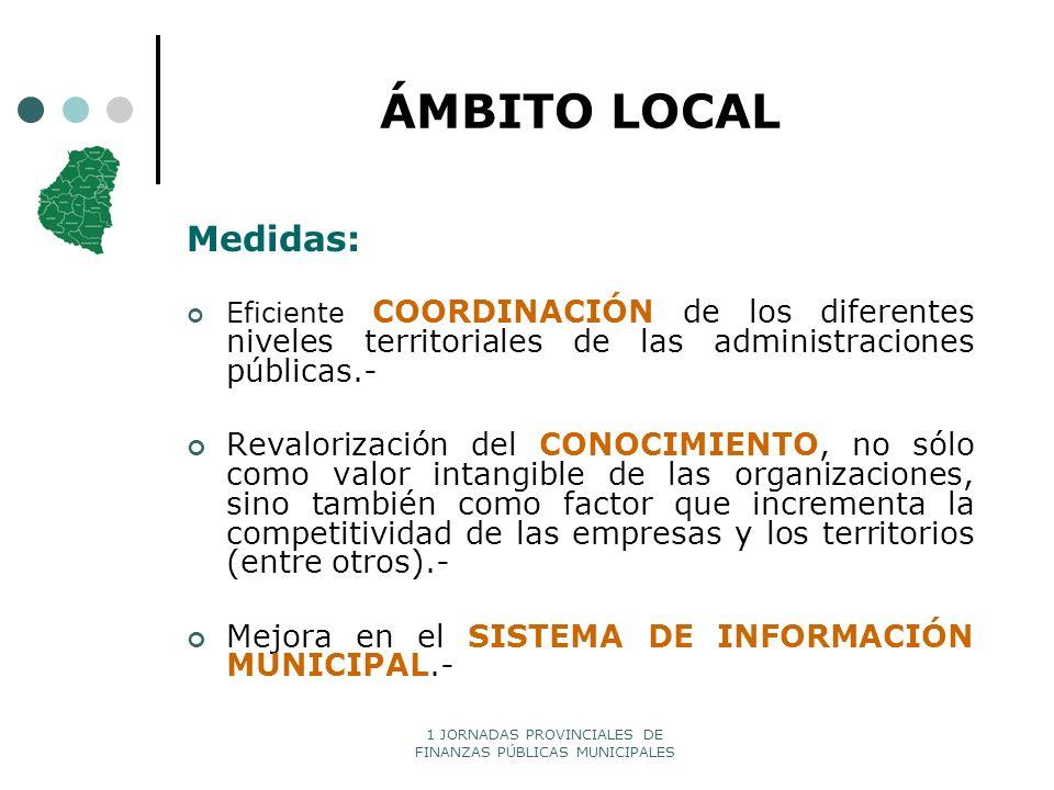 1 JORNADAS PROVINCIALES DE FINANZAS PÚBLICAS MUNICIPALES ÁMBITO LOCAL Medidas: Eficiente COORDINACIÓN de los diferentes niveles territoriales de las a