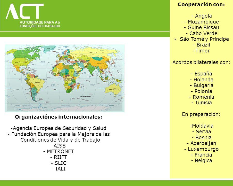 Cooperación con: - Angola - Mozambique - Guine Bissau - Cabo Verde - São Tomé y Principe - Brazil -Timor Acordos bilaterales con: - España - Holanda -