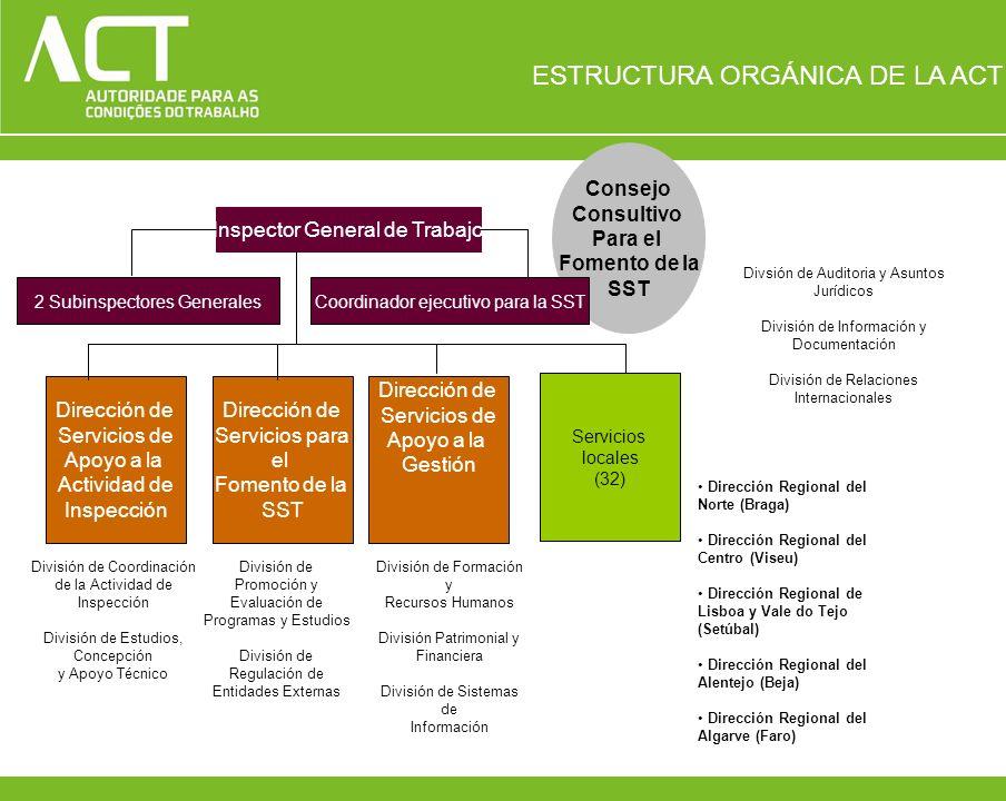 Consejo Consultivo Para el Fomento de la SST Inspector General de Trabajo 2 Subinspectores GeneralesCoordinador ejecutivo para la SST Dirección de Ser