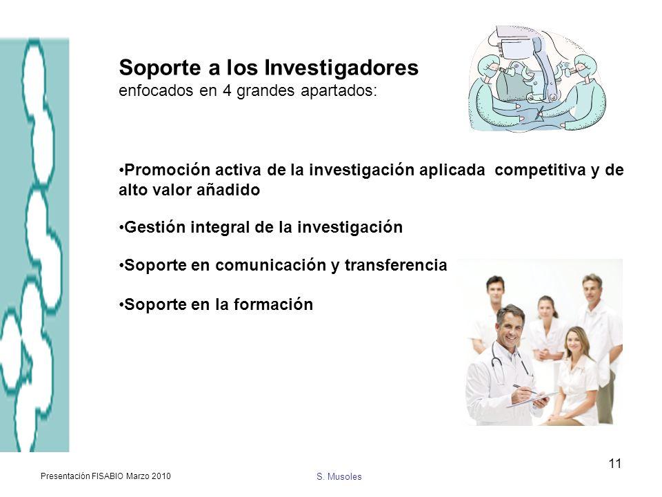 S. Musoles Presentación FISABIO Marzo 2010 11 Soporte a los Investigadores enfocados en 4 grandes apartados: Promoción activa de la investigación apli