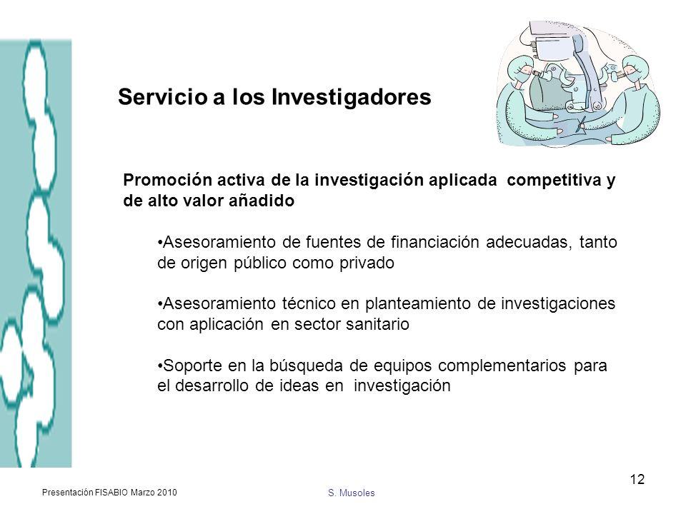 S. Musoles Presentación FISABIO Marzo 2010 12 Promoción activa de la investigación aplicada competitiva y de alto valor añadido Asesoramiento de fuent