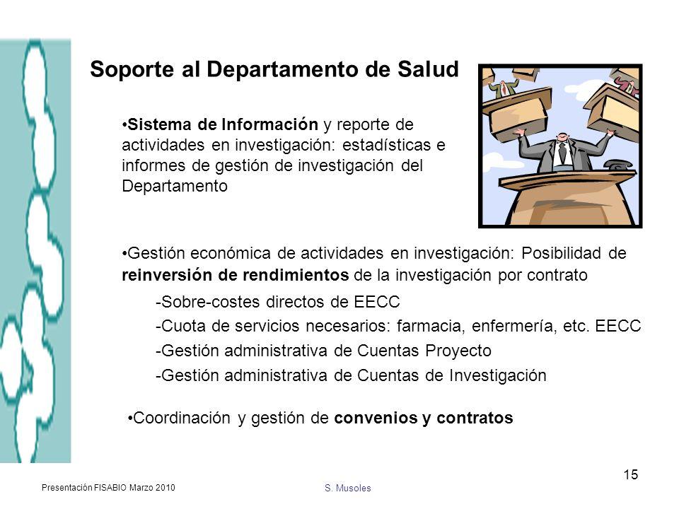 S. Musoles Presentación FISABIO Marzo 2010 15 Soporte al Departamento de Salud Sistema de Información y reporte de actividades en investigación: estad