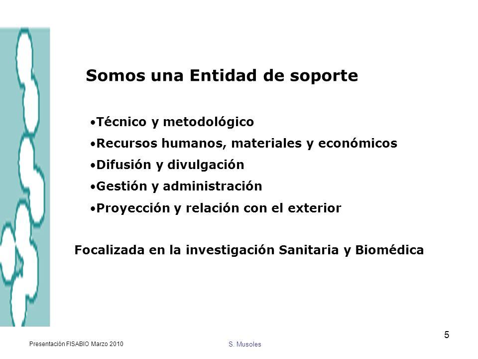 S. Musoles Presentación FISABIO Marzo 2010 5 Somos una Entidad de soporte Técnico y metodológico Recursos humanos, materiales y económicos Difusión y