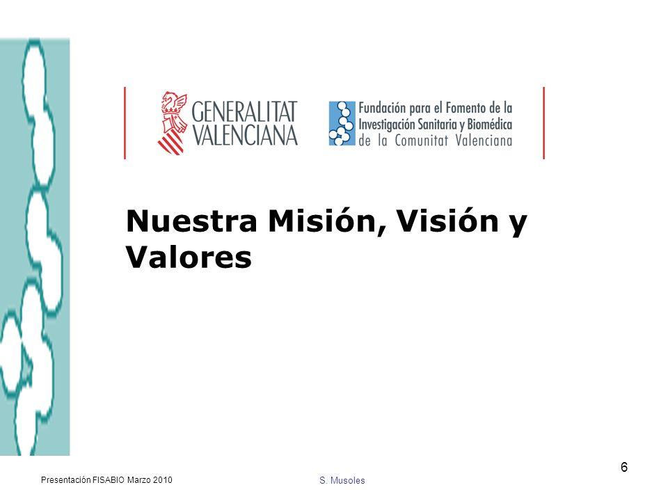 S. Musoles Presentación FISABIO Marzo 2010 6 Nuestra Misión, Visión y Valores