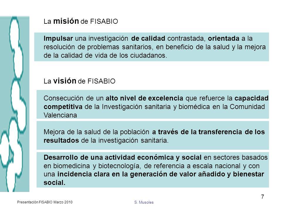 S. Musoles Presentación FISABIO Marzo 2010 7 La misión de FISABIO Impulsar una investigación de calidad contrastada, orientada a la resolución de prob