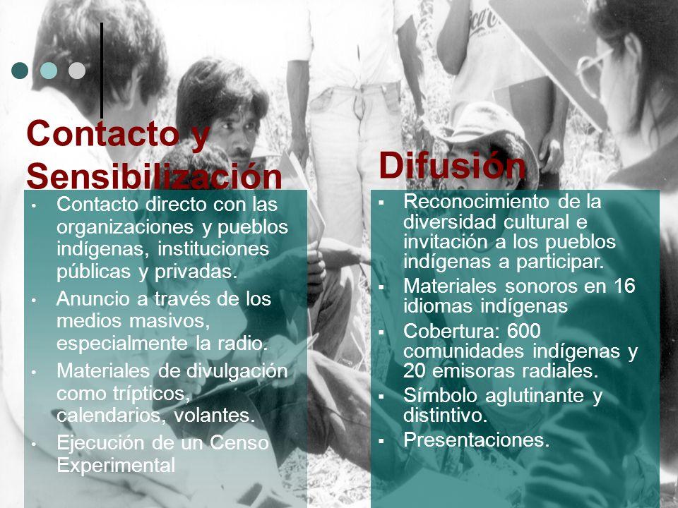 Contacto directo con las organizaciones y pueblos ind í genas, instituciones públicas y privadas. Anuncio a través de los medios masivos, especialment