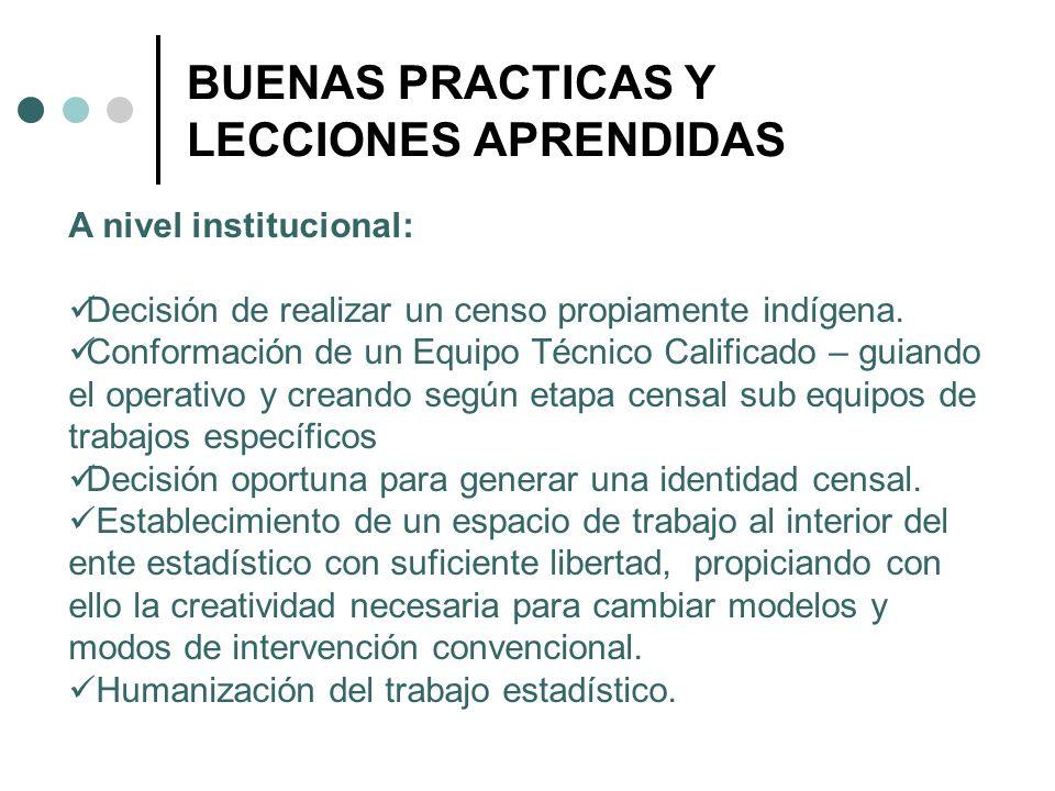 BUENAS PRACTICAS Y LECCIONES APRENDIDAS A nivel institucional: Decisión de realizar un censo propiamente indígena. Conformación de un Equipo Técnico C
