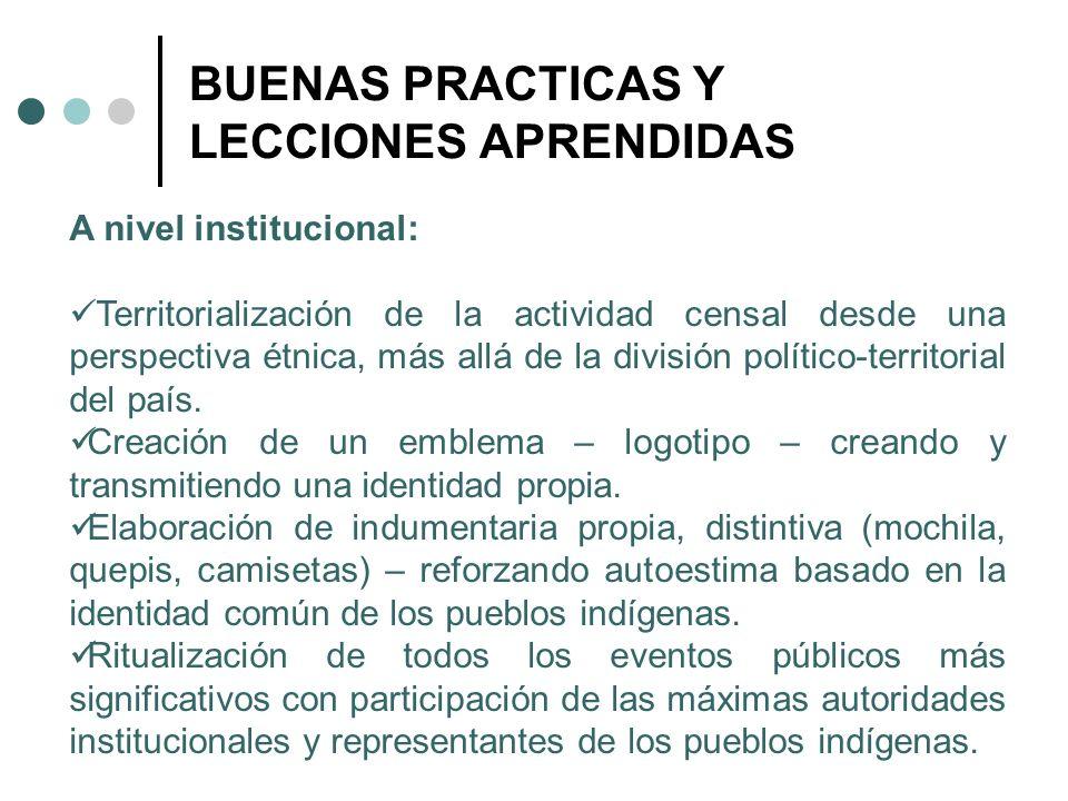BUENAS PRACTICAS Y LECCIONES APRENDIDAS A nivel institucional: Territorialización de la actividad censal desde una perspectiva étnica, más allá de la