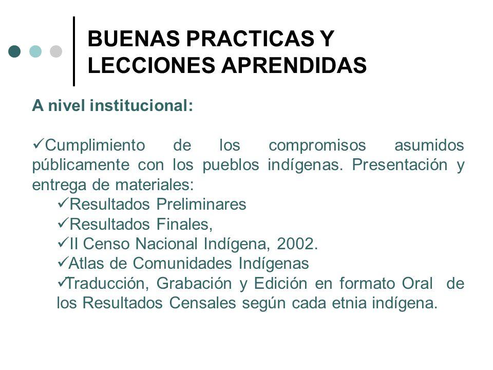 BUENAS PRACTICAS Y LECCIONES APRENDIDAS A nivel institucional: Cumplimiento de los compromisos asumidos públicamente con los pueblos indígenas. Presen