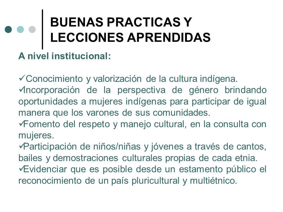 BUENAS PRACTICAS Y LECCIONES APRENDIDAS A nivel institucional: Conocimiento y valorización de la cultura indígena. Incorporación de la perspectiva de