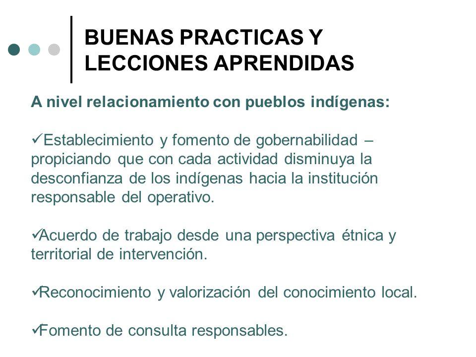 BUENAS PRACTICAS Y LECCIONES APRENDIDAS A nivel relacionamiento con pueblos indígenas: Establecimiento y fomento de gobernabilidad – propiciando que c