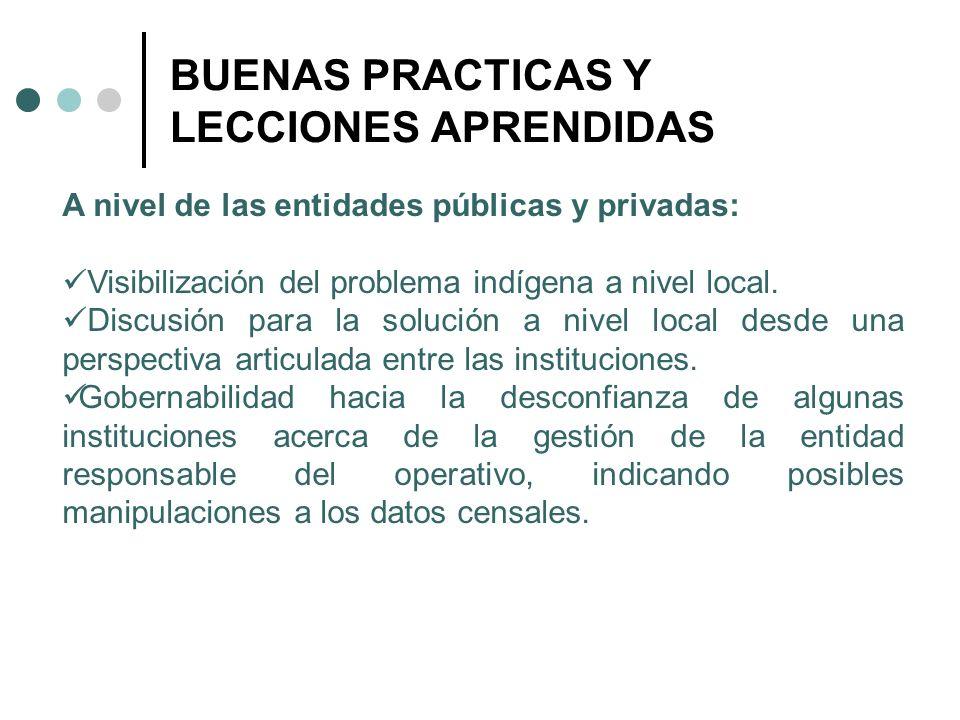 BUENAS PRACTICAS Y LECCIONES APRENDIDAS A nivel de las entidades públicas y privadas: Visibilización del problema indígena a nivel local. Discusión pa