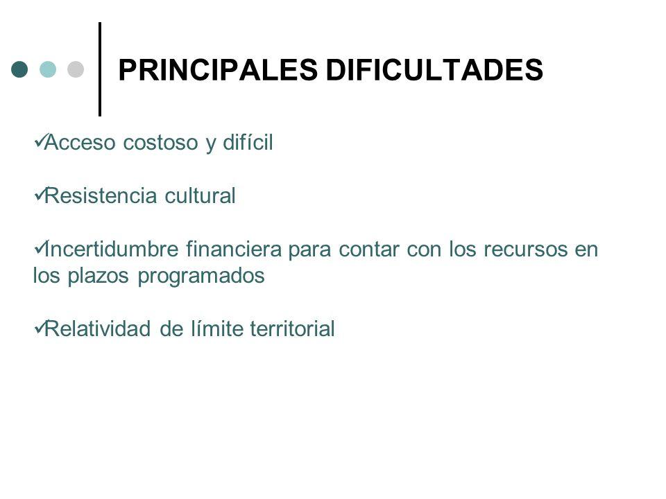 PRINCIPALES DIFICULTADES Acceso costoso y difícil Resistencia cultural Incertidumbre financiera para contar con los recursos en los plazos programados