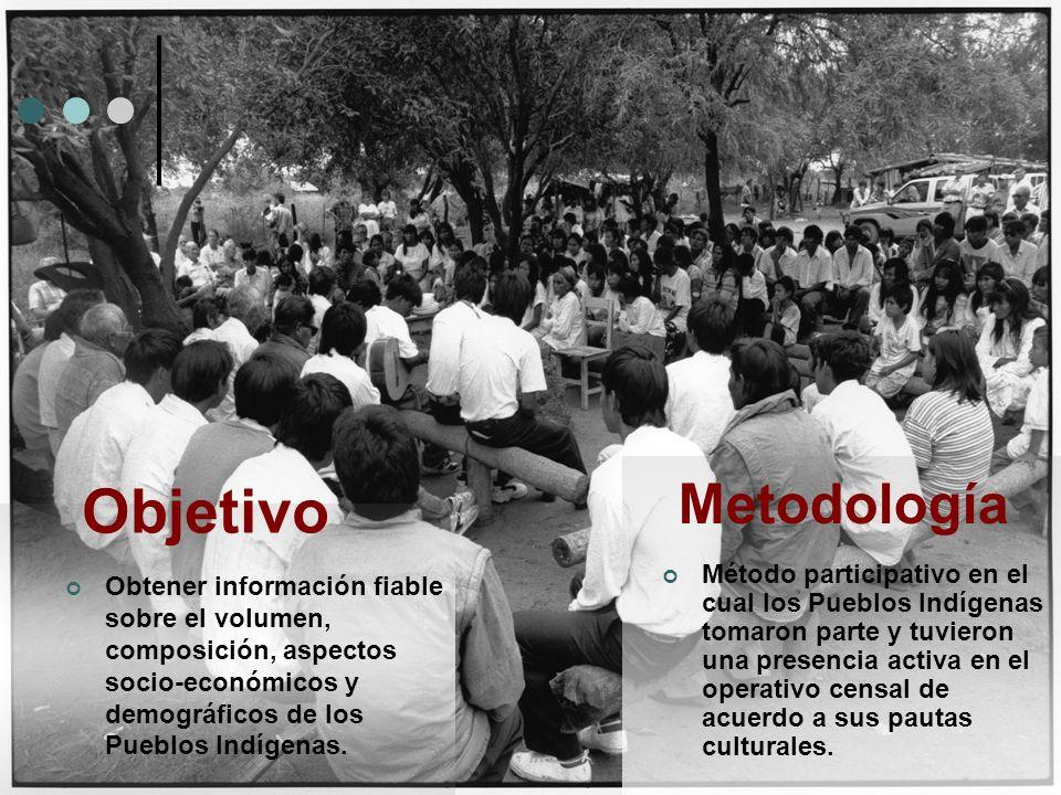 Objetivo Obtener información fiable sobre el volumen, composición, aspectos socio-económicos y demográficos de los Pueblos Indígenas. Metodología Méto