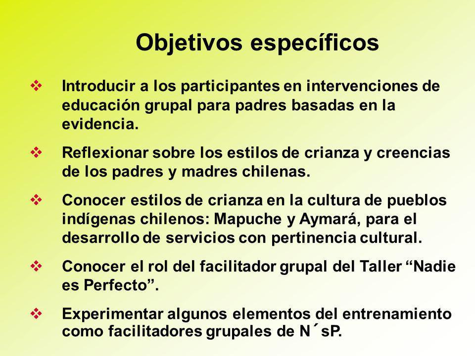 Objetivos específicos Introducir a los participantes en intervenciones de educación grupal para padres basadas en la evidencia.