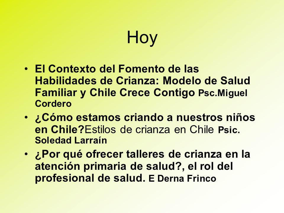Hoy El Contexto del Fomento de las Habilidades de Crianza: Modelo de Salud Familiar y Chile Crece Contigo Psc.Miguel Cordero ¿Cómo estamos criando a nuestros niños en Chile?Estilos de crianza en Chile Psic.