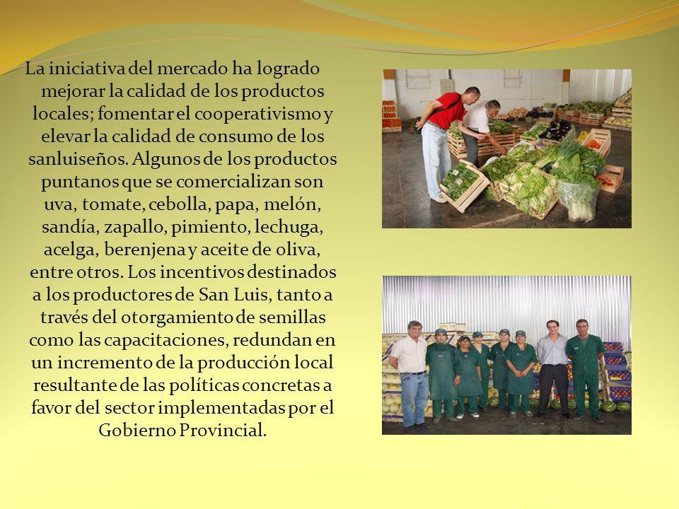CREACION DE LA MARCA SAN LUIS San Luis Frutas y Hortalizas, San Luis Carnes;San Luis Cereales; San Luis Lácteos, son las marcas comerciales registradas por el Ministerio del Campo para comercializar los productos bajo el sello de la provincia.