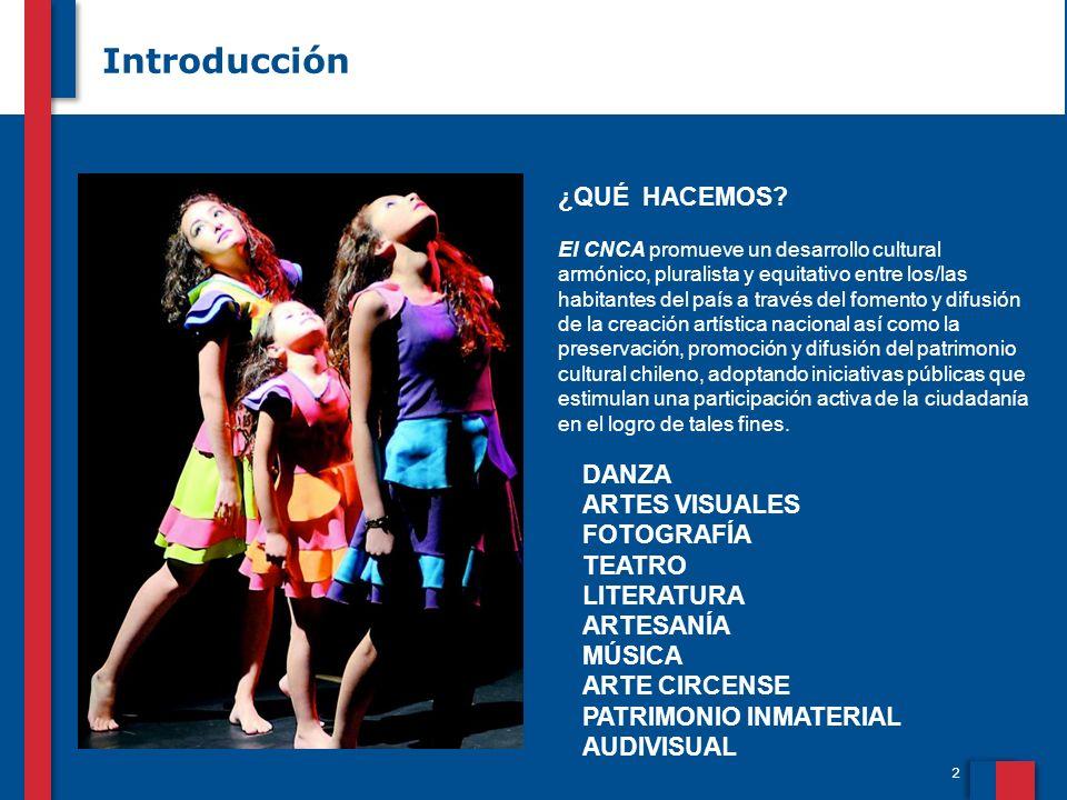 2 Introducción DANZA ARTES VISUALES FOTOGRAFÍA TEATRO LITERATURA ARTESANÍA MÚSICA ARTE CIRCENSE PATRIMONIO INMATERIAL AUDIVISUAL ¿QUÉ HACEMOS.