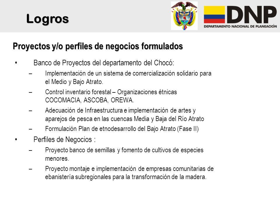 Banco de Proyectos del departamento del Chocó: –Implementación de un sistema de comercialización solidario para el Medio y Bajo Atrato.