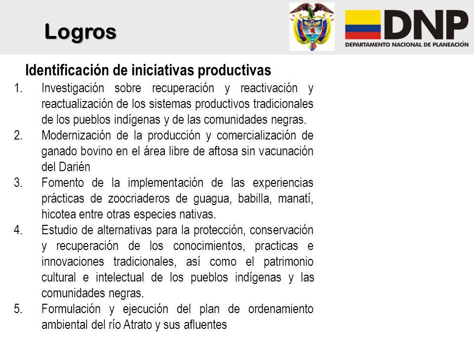 6.Implementación de alternativas pecuarias con especies menores 7.Investigación e implementación de experiencias de agroforestería para las comunidades negras y los pueblos indígenas.