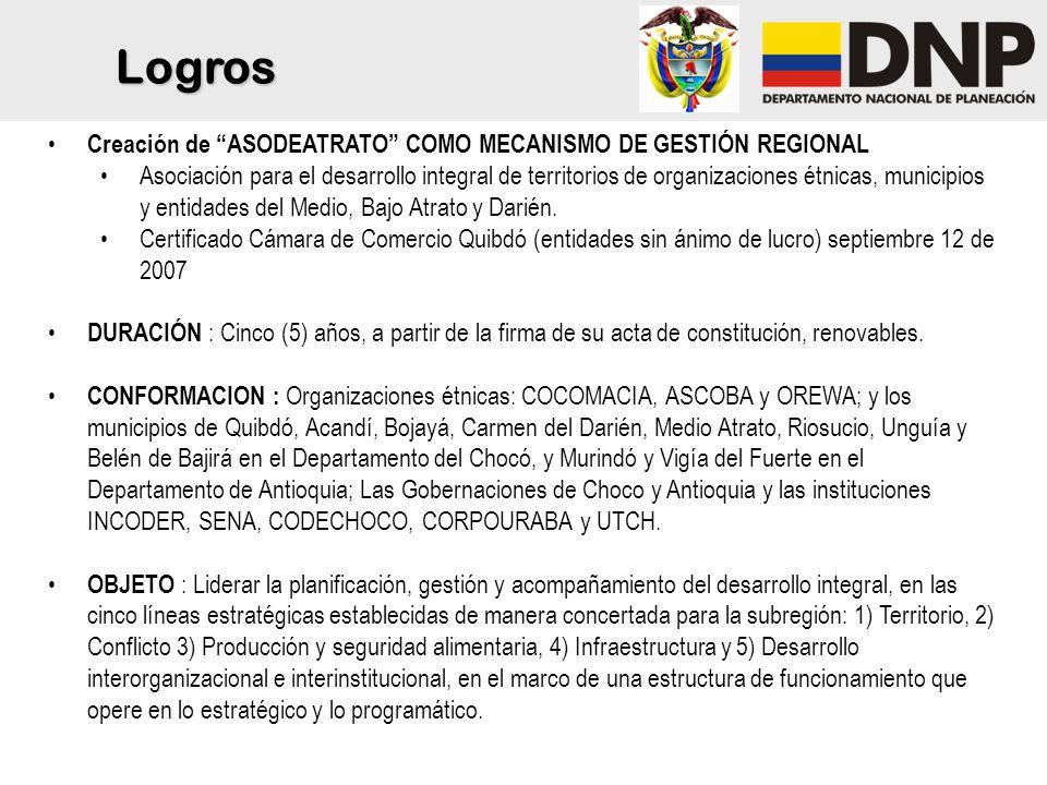 Creación de ASODEATRATO COMO MECANISMO DE GESTIÓN REGIONAL Asociación para el desarrollo integral de territorios de organizaciones étnicas, municipios y entidades del Medio, Bajo Atrato y Darién.