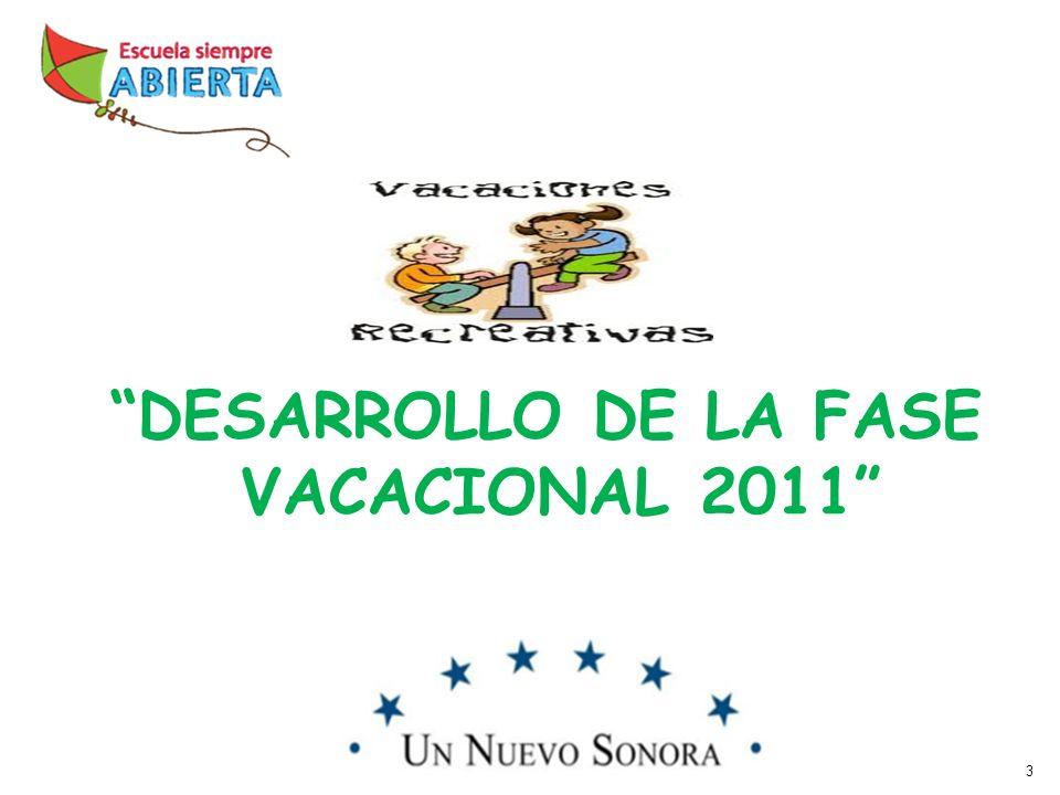 3 DESARROLLO DE LA FASE VACACIONAL 2011