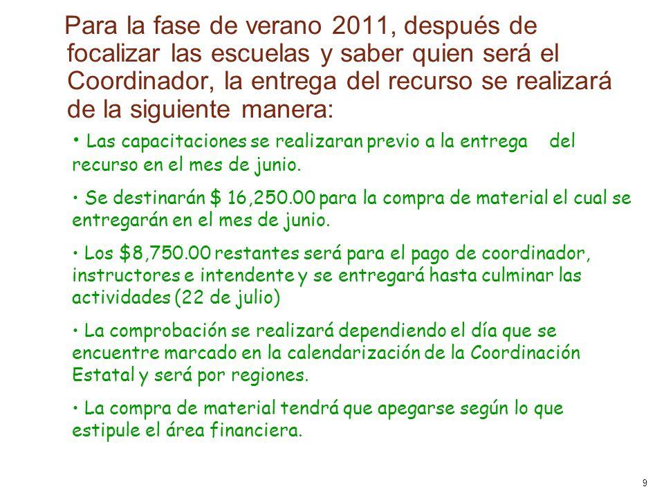 9 Para la fase de verano 2011, después de focalizar las escuelas y saber quien será el Coordinador, la entrega del recurso se realizará de la siguiente manera: Las capacitaciones se realizaran previo a la entrega del recurso en el mes de junio.
