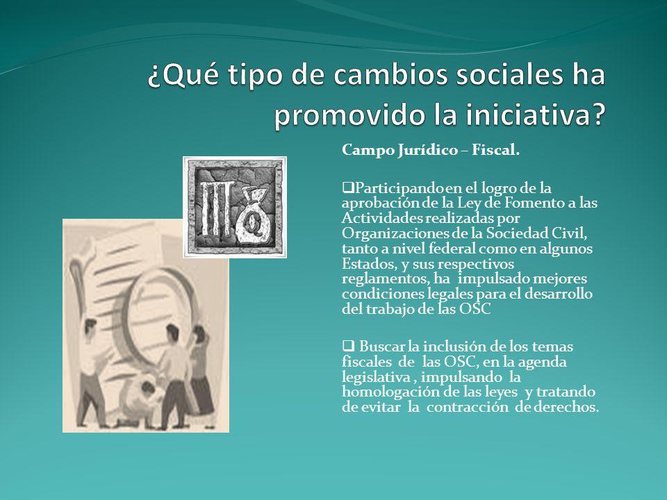 Campo Jurídico – Fiscal. Participando en el logro de la aprobación de la Ley de Fomento a las Actividades realizadas por Organizaciones de la Sociedad