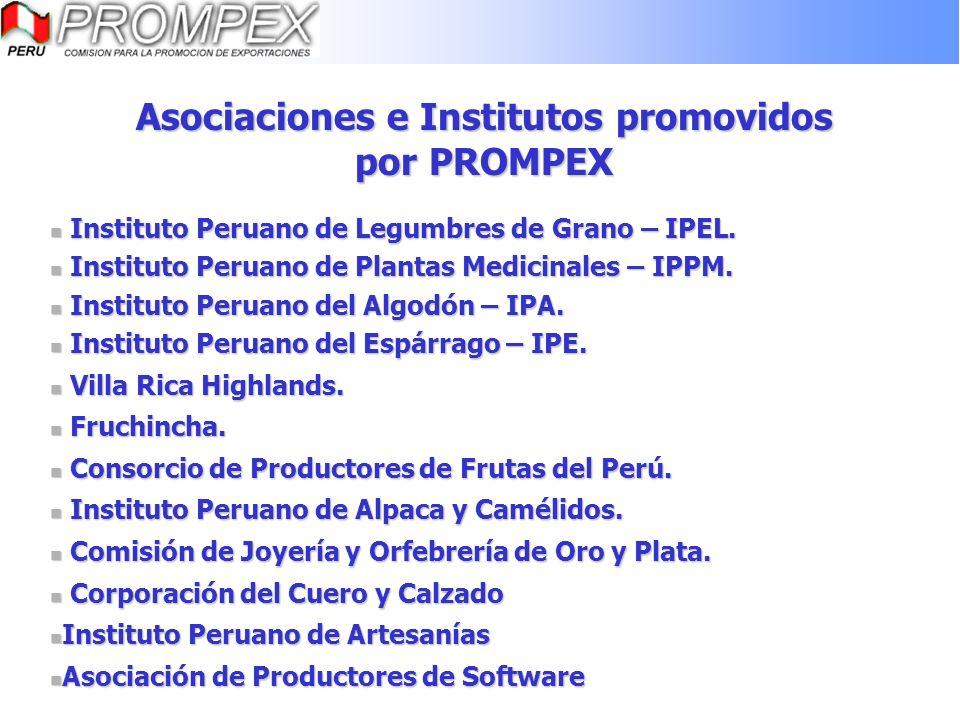 Asociaciones e Institutos promovidos por PROMPEX Instituto Peruano de Legumbres de Grano – IPEL. Instituto Peruano de Legumbres de Grano – IPEL. Insti