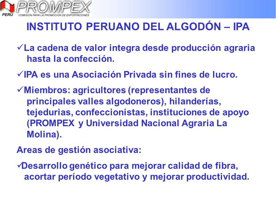 INSTITUTO PERUANO DEL ALGODÓN – IPA La cadena de valor integra desde producción agraria hasta la confección. IPA es una Asociación Privada sin fines d