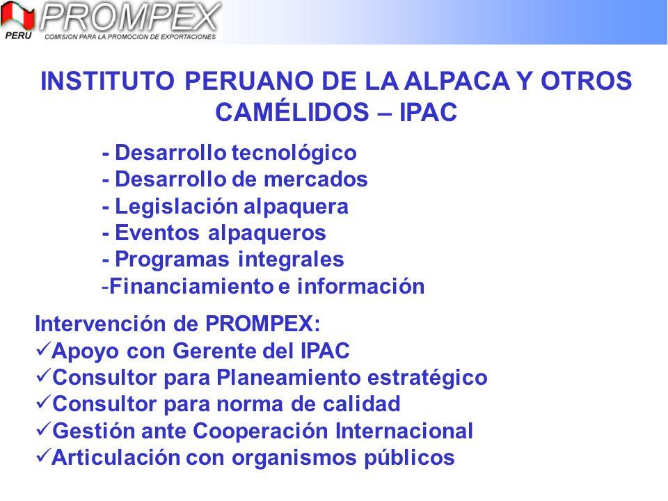 INSTITUTO PERUANO DE LA ALPACA Y OTROS CAMÉLIDOS – IPAC - Desarrollo tecnológico - Desarrollo de mercados - Legislación alpaquera - Eventos alpaqueros