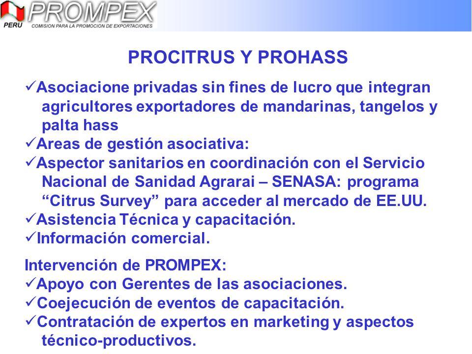 PROCITRUS Y PROHASS Asociacione privadas sin fines de lucro que integran agricultores exportadores de mandarinas, tangelos y palta hass Areas de gesti