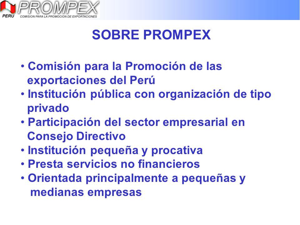 SOBRE PROMPEX Comisión para la Promoción de las exportaciones del Perú Institución pública con organización de tipo privado Participación del sector e