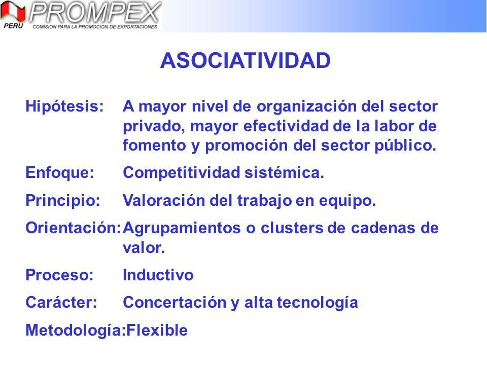 ASOCIATIVIDAD Hipótesis:A mayor nivel de organización del sector privado, mayor efectividad de la labor de fomento y promoción del sector público. Enf