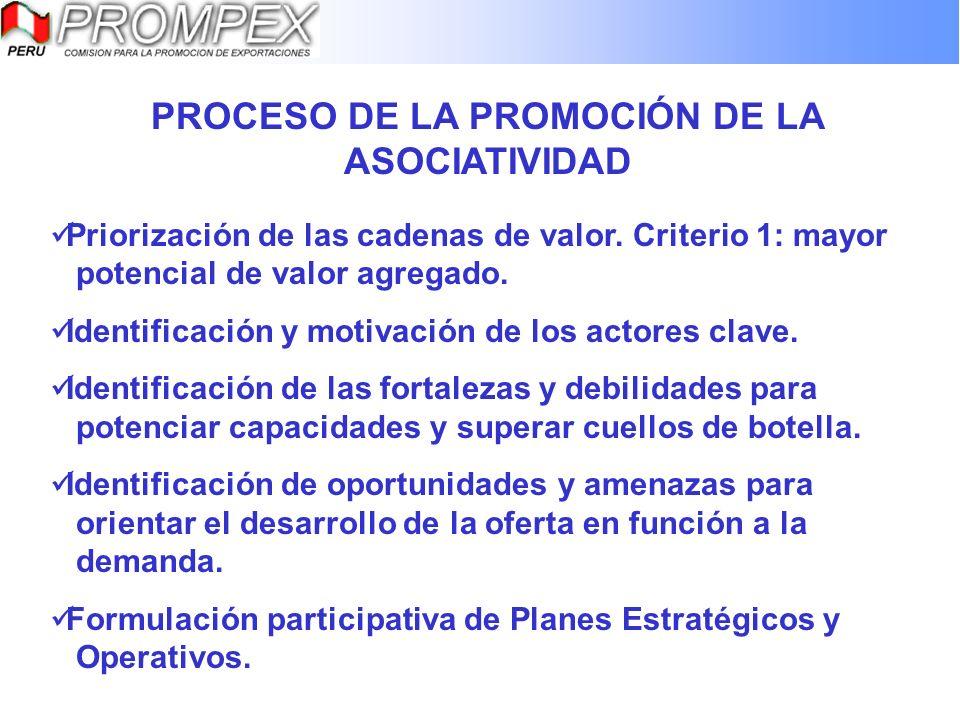 PROCESO DE LA PROMOCIÓN DE LA ASOCIATIVIDAD Priorización de las cadenas de valor. Criterio 1: mayor potencial de valor agregado. Identificación y moti