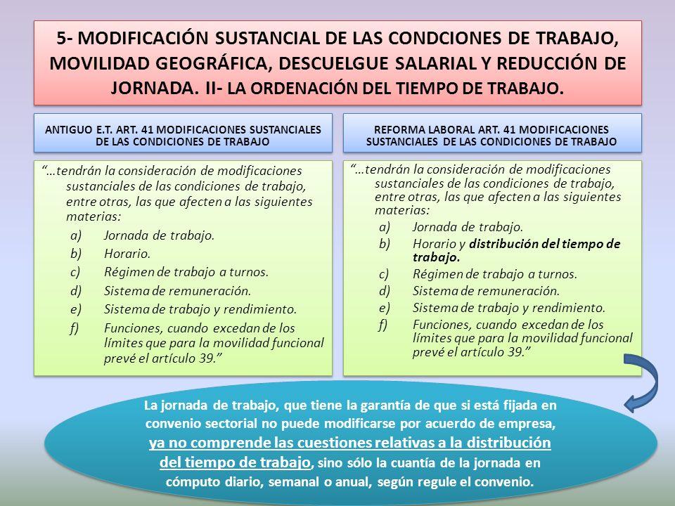5- MODIFICACIÓN SUSTANCIAL DE LAS CONDCIONES DE TRABAJO, MOVILIDAD GEOGRÁFICA, DESCUELGUE SALARIAL Y REDUCCIÓN DE JORNADA. II- LA ORDENACIÓN DEL TIEMP
