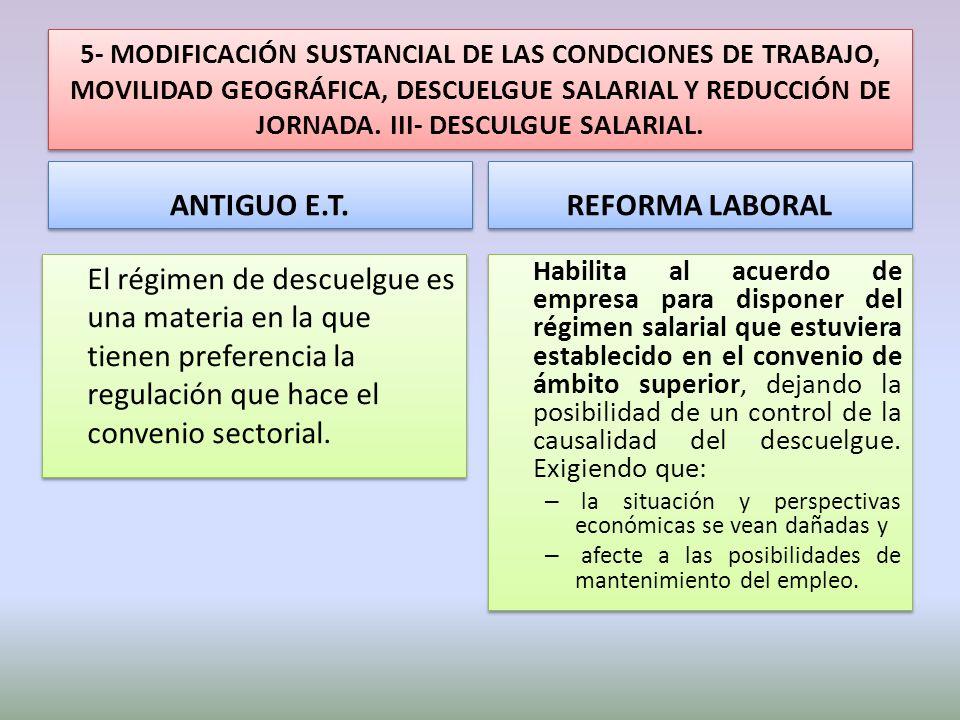 5- MODIFICACIÓN SUSTANCIAL DE LAS CONDCIONES DE TRABAJO, MOVILIDAD GEOGRÁFICA, DESCUELGUE SALARIAL Y REDUCCIÓN DE JORNADA. III- DESCULGUE SALARIAL. AN