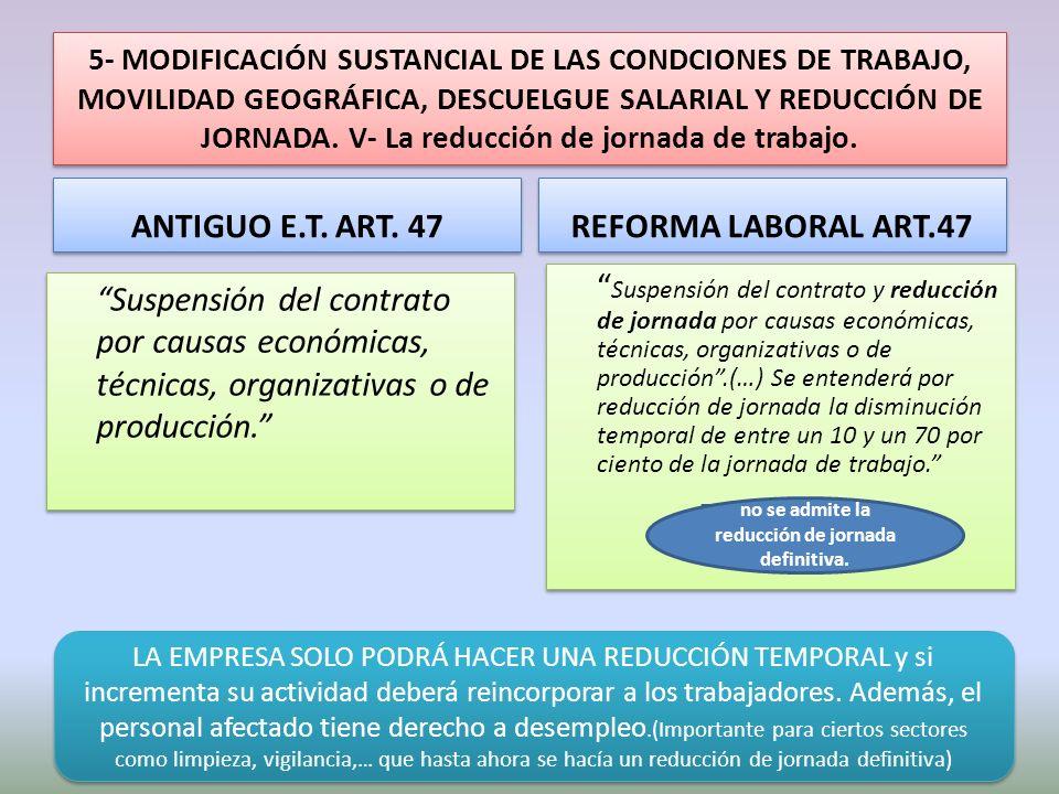 5- MODIFICACIÓN SUSTANCIAL DE LAS CONDCIONES DE TRABAJO, MOVILIDAD GEOGRÁFICA, DESCUELGUE SALARIAL Y REDUCCIÓN DE JORNADA. V- La reducción de jornada