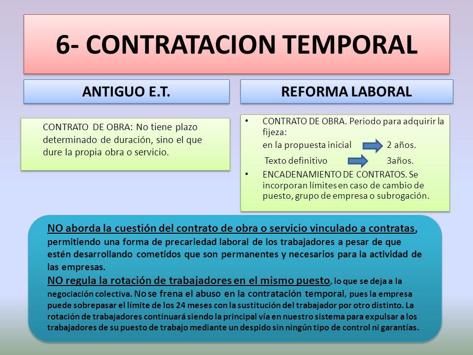 6- CONTRATACION TEMPORAL ANTIGUO E.T. CONTRATO DE OBRA: No tiene plazo determinado de duración, sino el que dure la propia obra o servicio. REFORMA LA