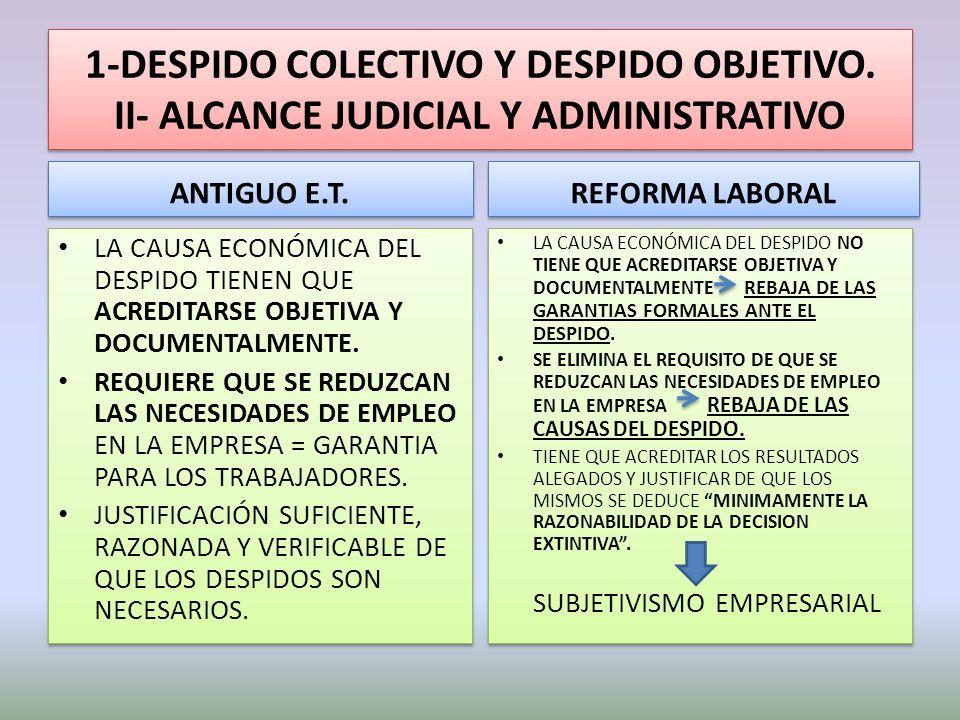 1-DESPIDO COLECTIVO Y DESPIDO OBJETIVO. II- ALCANCE JUDICIAL Y ADMINISTRATIVO ANTIGUO E.T. LA CAUSA ECONÓMICA DEL DESPIDO TIENEN QUE ACREDITARSE OBJET
