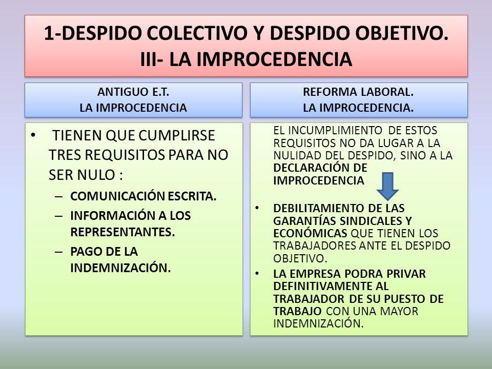 1-DESPIDO COLECTIVO Y DESPIDO OBJETIVO. III- LA IMPROCEDENCIA ANTIGUO E.T. LA IMPROCEDENCIA ANTIGUO E.T. LA IMPROCEDENCIA TIENEN QUE CUMPLIRSE TRES RE