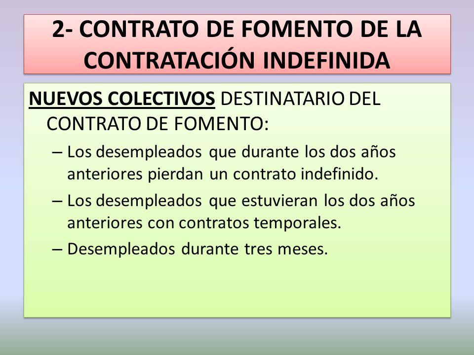 2- CONTRATO DE FOMENTO DE LA CONTRATACIÓN INDEFINIDA NUEVOS COLECTIVOS DESTINATARIO DEL CONTRATO DE FOMENTO: – Los desempleados que durante los dos añ