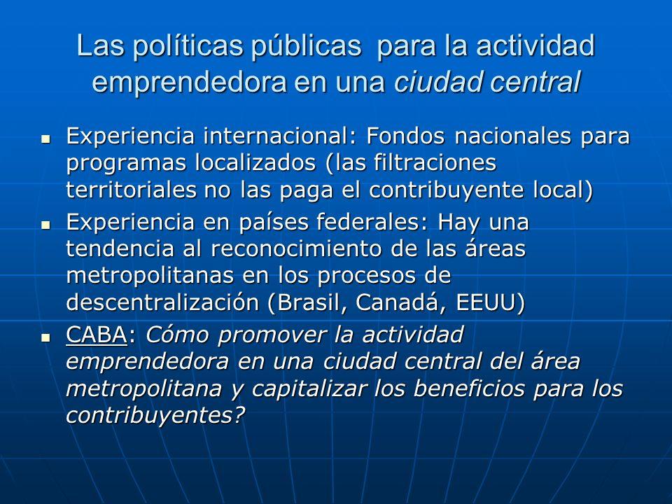 Las políticas públicas para la actividad emprendedora en una ciudad central Experiencia internacional: Fondos nacionales para programas localizados (l