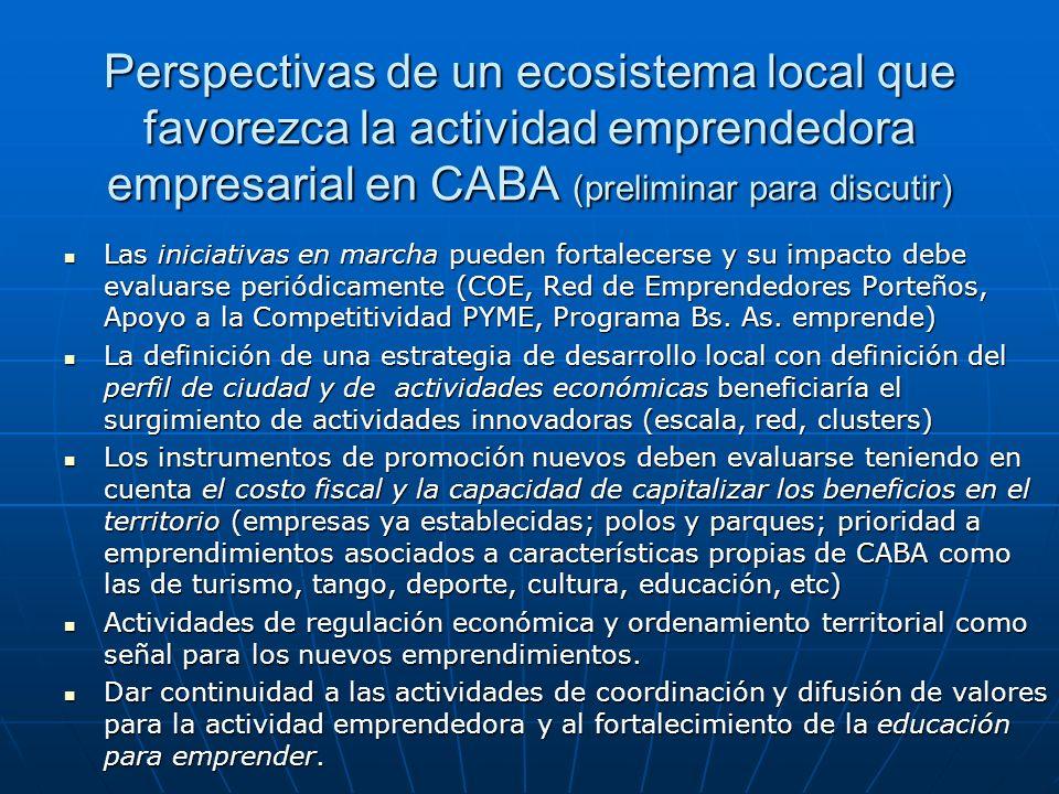 Perspectivas de un ecosistema local que favorezca la actividad emprendedora empresarial en CABA (preliminar para discutir) Las iniciativas en marcha p