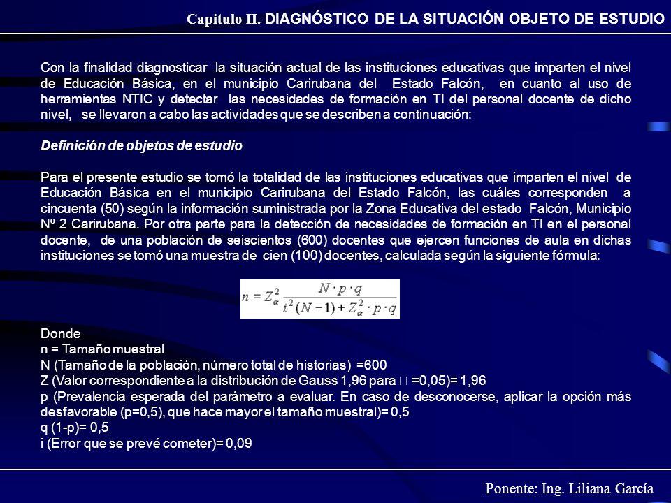 Ponente: Ing. Liliana García Capitulo II. DIAGNÓSTICO DE LA SITUACIÓN OBJETO DE ESTUDIO Con la finalidad diagnosticar la situación actual de las insti
