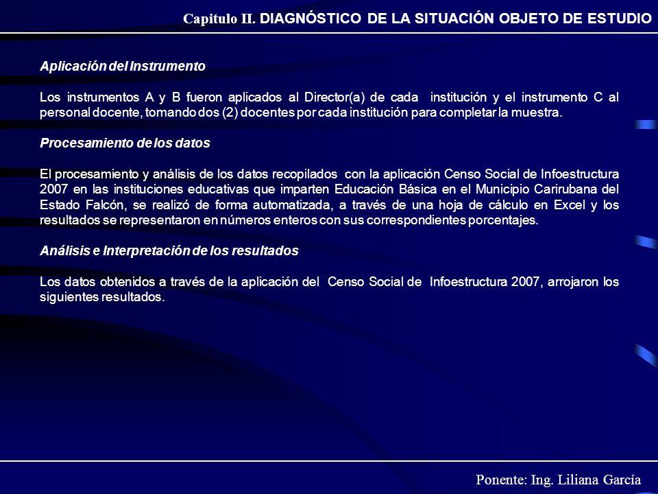 Ponente: Ing. Liliana García Capitulo II. DIAGNÓSTICO DE LA SITUACIÓN OBJETO DE ESTUDIO Aplicación del Instrumento Los instrumentos A y B fueron aplic