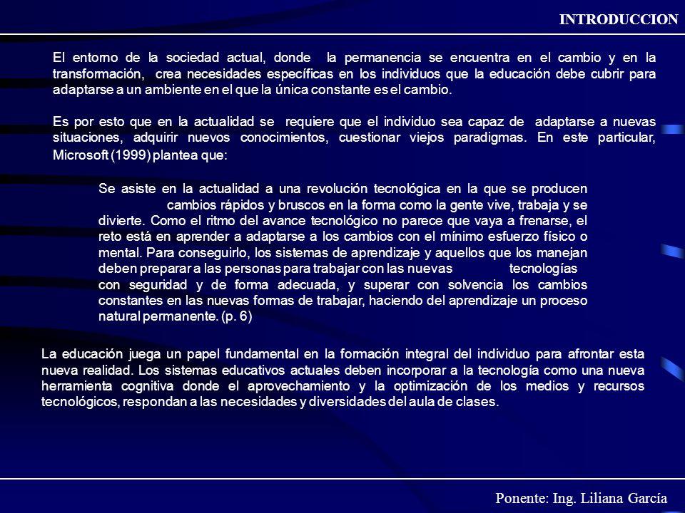 Ponente: Ing. Liliana García INTRODUCCION El entorno de la sociedad actual, donde la permanencia se encuentra en el cambio y en la transformación, cre