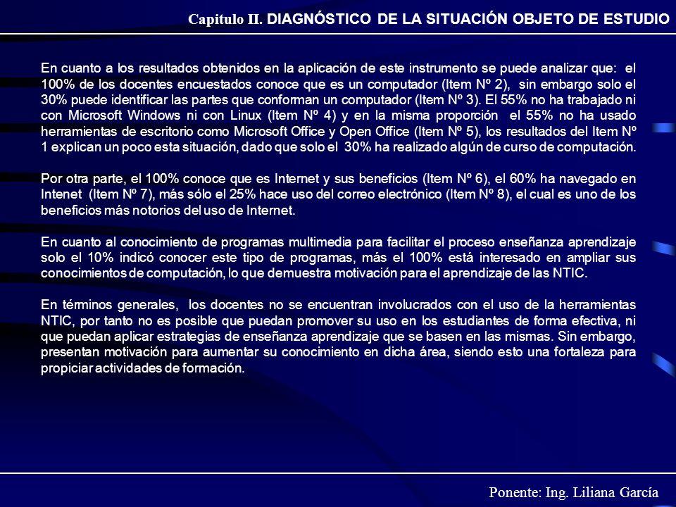 Ponente: Ing. Liliana García Capitulo II. DIAGNÓSTICO DE LA SITUACIÓN OBJETO DE ESTUDIO En cuanto a los resultados obtenidos en la aplicación de este