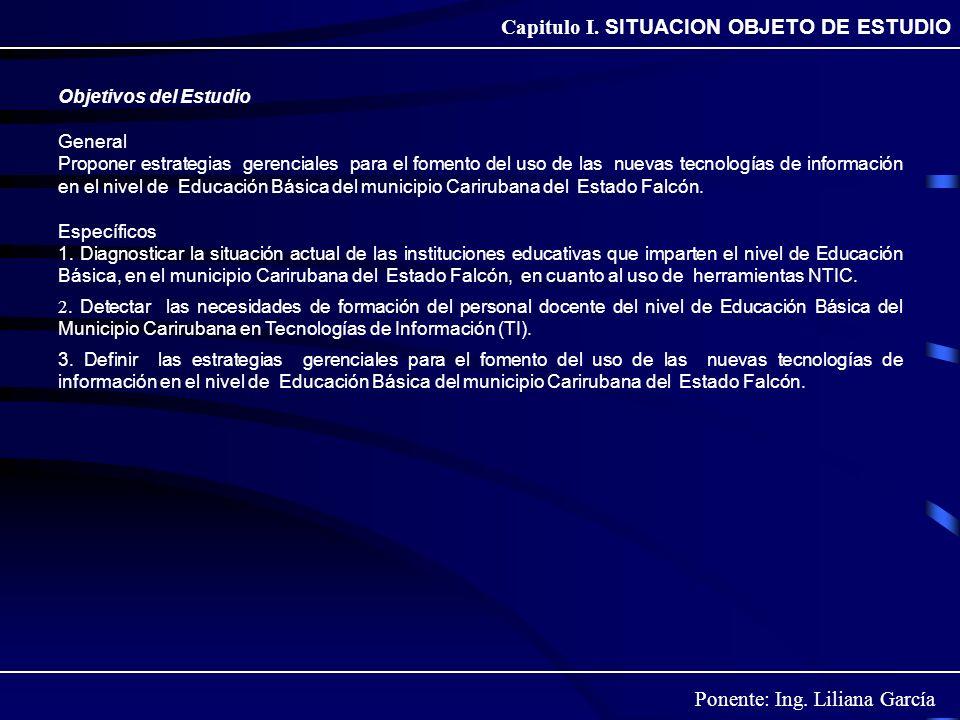 Ponente: Ing. Liliana García Capitulo I. SITUACION OBJETO DE ESTUDIO Objetivos del Estudio General Proponer estrategias gerenciales para el fomento de